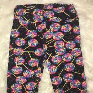 Lularoe one size lollipop suckers leggings black